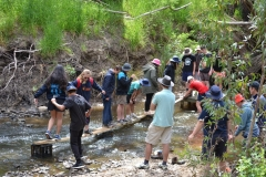 Bridge Building – Use your creative thinking as you build a bridge to get your group onto the platform in the river using only the materials supplied.