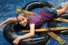Raft making – Will you sink or swim? Challenge your ingenuity as you build rafts and race them across the pool
