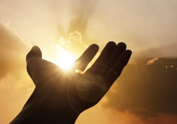 Hand on sunset background success, peace,freedom concept